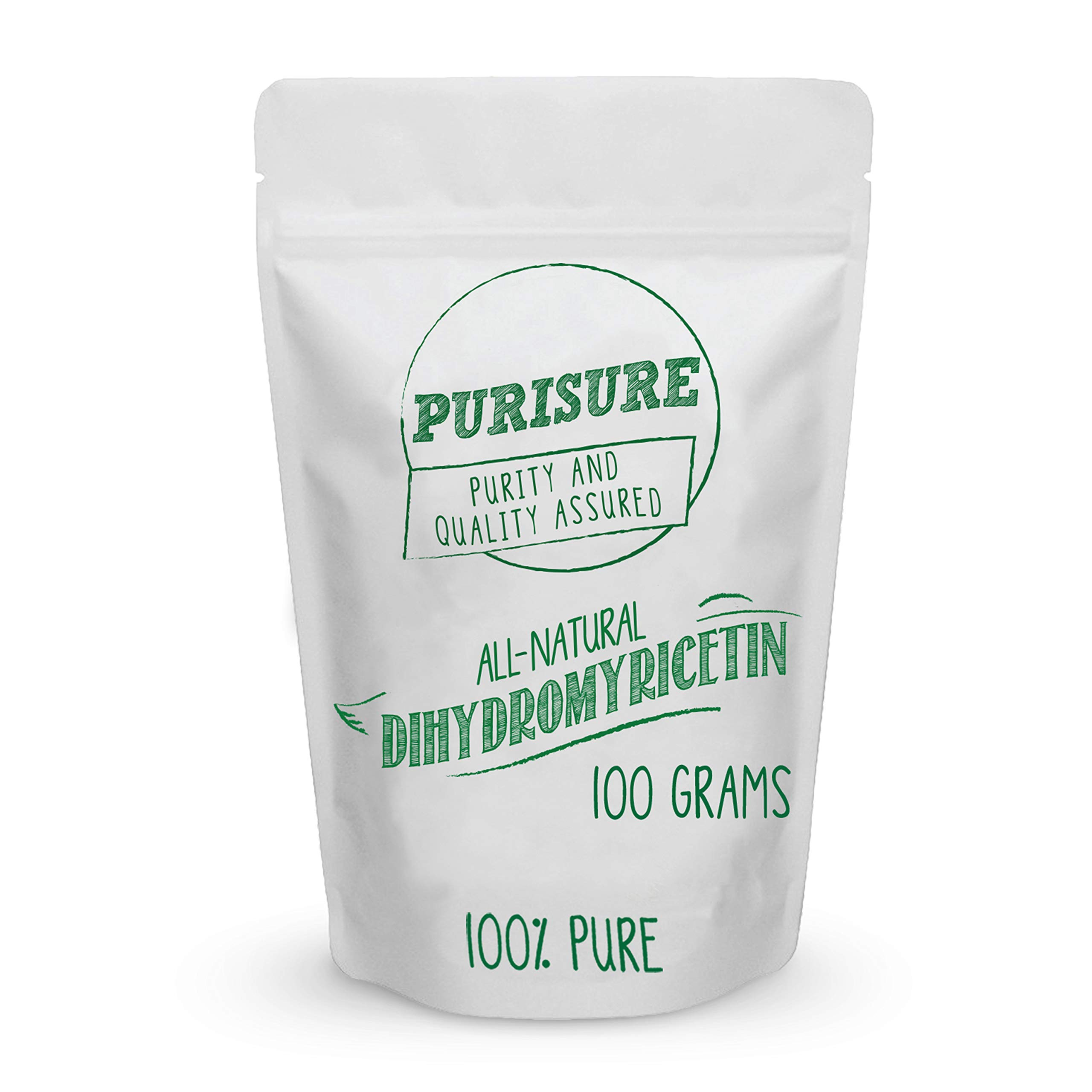 Purisure Dihydromyricetin (DHM) Powder 100g (285 Servings), Perfect for Hangover Prevention & Cure, Intoxication Prevention, Hangover Vitamins for Nutrient Restoration, Liver Support