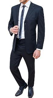 Abito completo uomo sartoriale in lino blu scuro vestito elegante cerimonia d52969ddf39