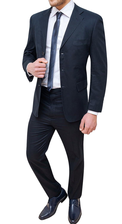 Abito completo uomo sartoriale in lino blu scuro vestito elegante cerimonia