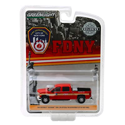 2015 Chevrolet Silverado 4x4 Pickup Truck FDNY (The Official Fire Department City of New York) Hobby Exclusive 1/64 Diecast Model Car by Greenlight 30009: Toys & Games
