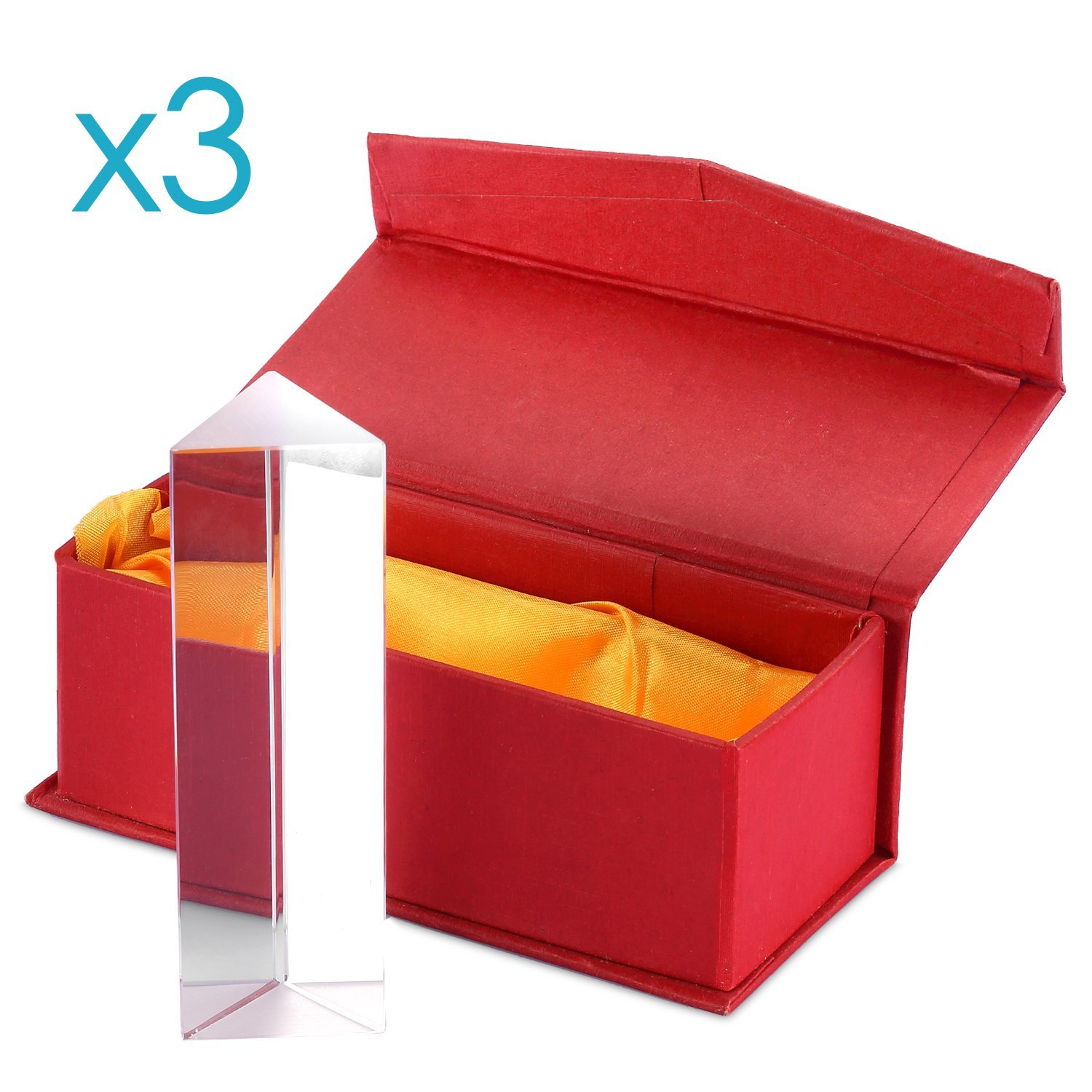 Neewer 3 Pieces 3.94 inches/10 centimeters Optical Glass Triple Triangular Prism Physics Teaching Light Spectrum