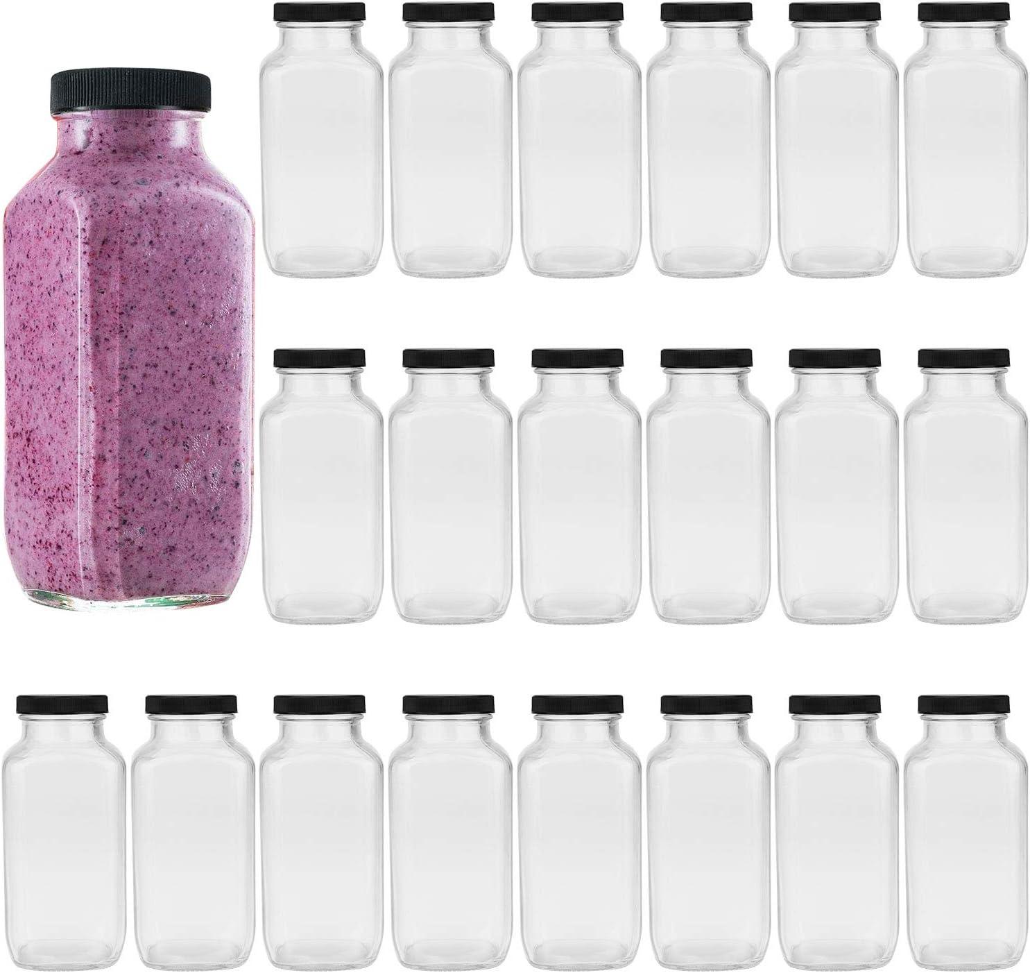 Encheng Beverages Bottles 12oz,Glass Water Botttles with Lids,Octagonal Vintage Drinking Bottles 350ml,Juice Bottles for Storage Tea,Kombucha,Milk Bottles Smoothies Bottles 20Pack …