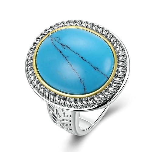 Adisaer mujeres anillos bañado en plata azul turquesa bandas de anillos de boda para novia: Amazon.es: Joyería