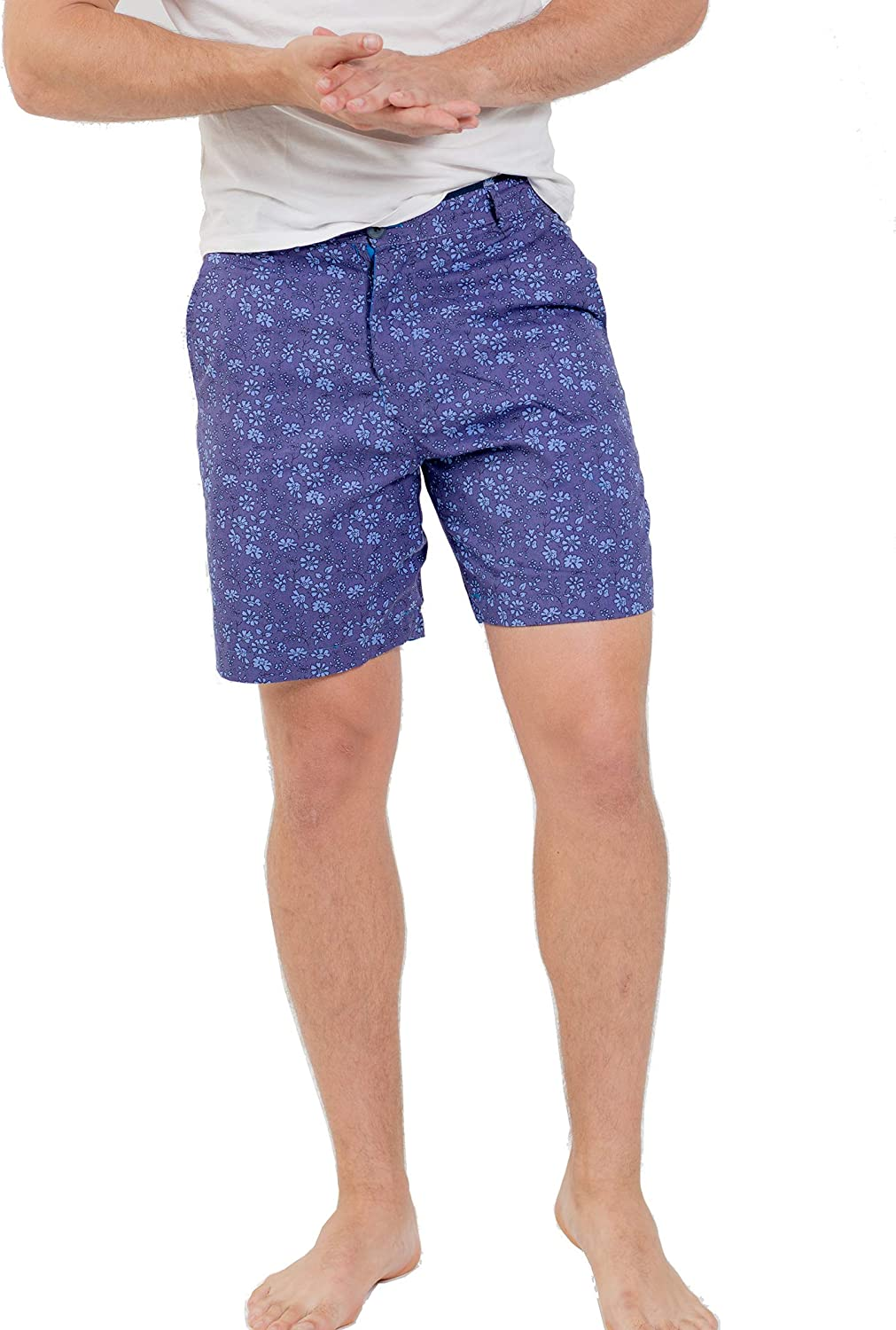 Max and Lucas Mens mid Length Shorts Blue Floral Printed with Side Pockets