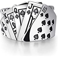Poker Games Casino Ring Spades Flush Playing Cards Statement Band Ring Vintage Adjustable Punk Stainless Steel Jewelry…