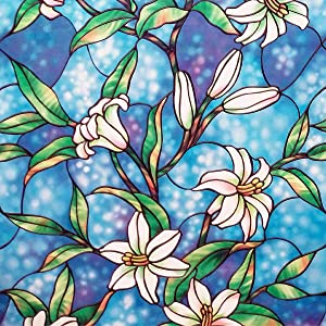 """Coavas Stained Glass Window Film Privacy Frosted Non-Adhesive Decorative Glass Film Static Cling Film for Home Office Church 35.6"""" x 157.5"""""""