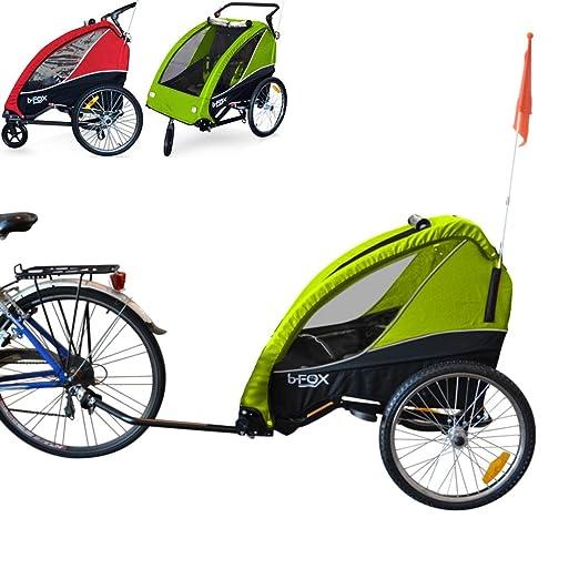 PAPILIOSHOP B-FOX Remolque carrito para transporte uno dos niños silla de paseo (verde): Amazon.es: Deportes y aire libre