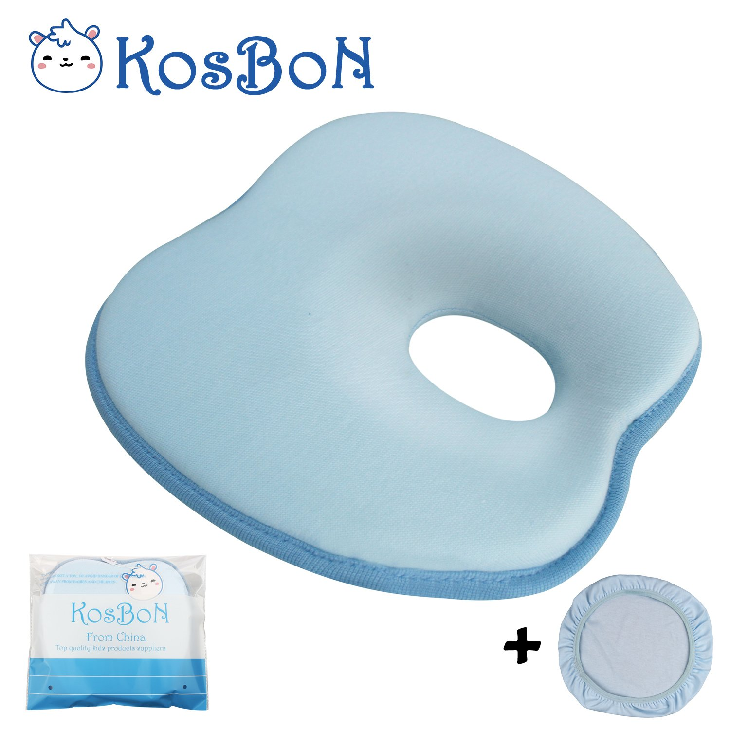 KSB 9 Inches Blue Soft Anti Roll Memory Foam Baby Head Positioner Pillow, Prevent Flat Head For 3 Months- 1 Year Infant (Apple shape) BOBKIDS
