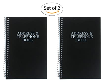 amazon com set of 2 black telephone address books spiral bound 8