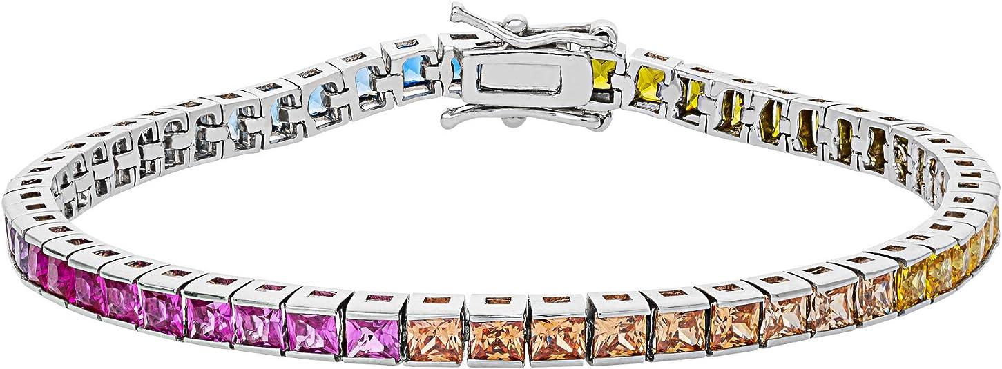 Platinum Sterling Silver Rainbow Sapphire Round Cut Halo Thin Tennis Bracelet