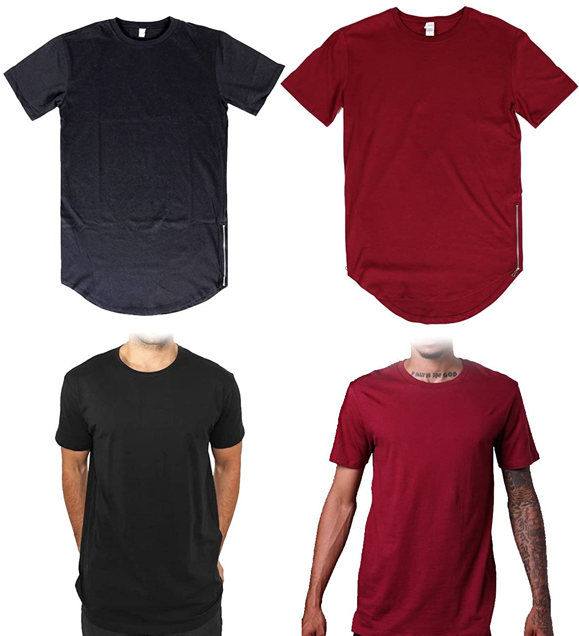 Amazon.com  2 pack elongated Tee T Shirts Long Extended urban wear Hip Hop  Zipper BLACK RED  Clothing 6db835729