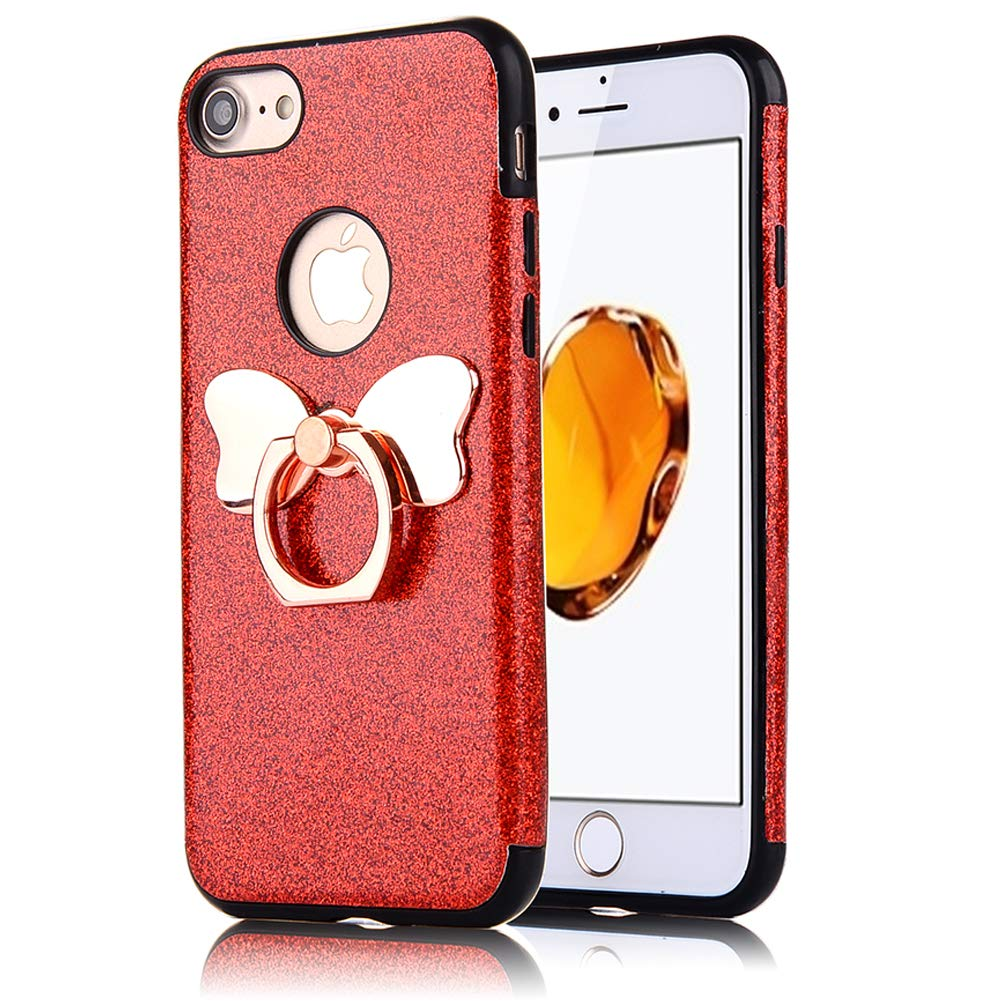 iPhone 7 Plus iPhone 8 Plus Case, WIWJ Soft leather Luxury Case Girls Glitter Case with Rotate Butterfly Ring Holder Sparkly Diamond Kickstand Case Slim-Thin Fit iPhone 7 Plus iPhone 8 Plus Case-Blue