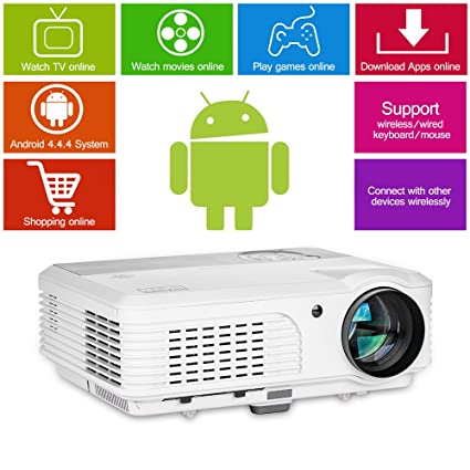 c72a44219faa7c HD Wireless LCD Projector WXGA 3600 Lumens Support 1080p Airplay Miracast  LED Android Wifi Home Cinema