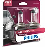 Philips Automotive Lighting 9003 VisionPlus Upgrade Headlight Bulb with up to 60% More Vision, 2 Pack (9003VPB2)