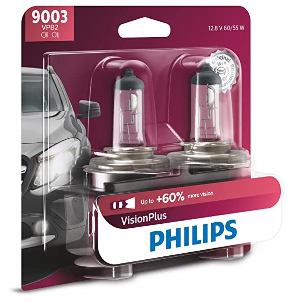 Philips 9003 VisionPlus Upgrade Headlight Bulb with up to 60% More Vision, 2 Pack