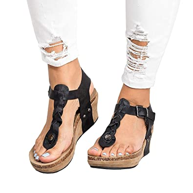 576aa053ae8c69 Minetom Women s Boho Braided Wedge Sandals Casual T-Strap Wedge Heel Sandal  Shoes Black US