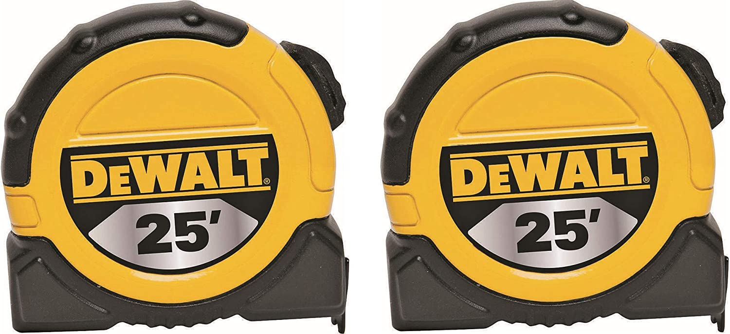 DEWALT DWHT36107 1 1/8-Inch x 25-Foot Short Tape, 10-Foot Stand Out, 2 Pack