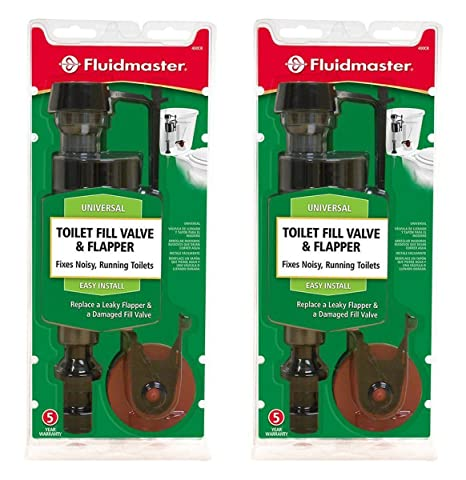 toilet fill valve and flapper.  Pack Of 2 Fluidmaster 400CR Toilet Fill Valve And Flapper Repair Kit