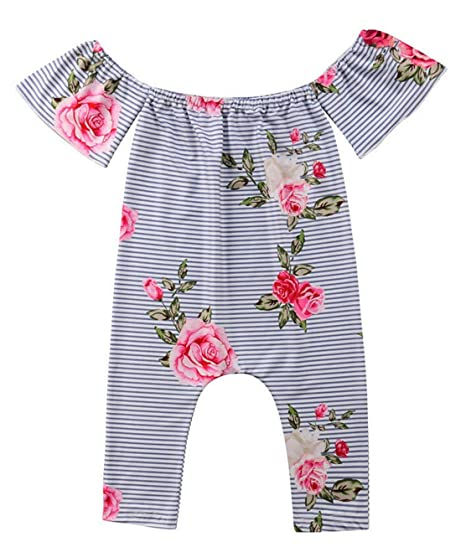 e89dd98d949 Newborn Baby Girl s Floral Printed Off Shoulder Romper Pants Toddler  Jumpsuit Bodysuits Outfits (70