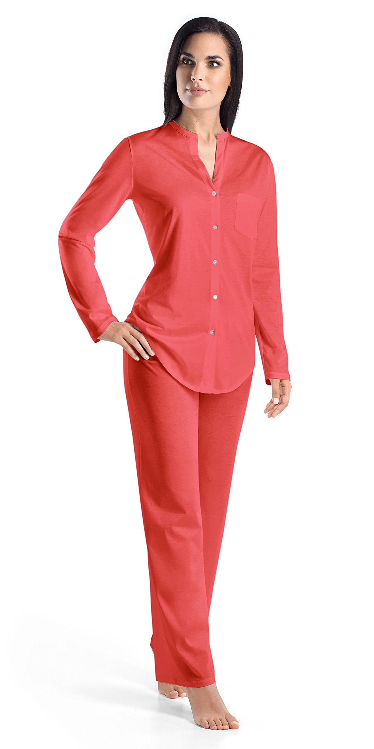 Hanro Women's Cotton Deluxe Long Sleeve Pajama Set, Grapefruit, Large