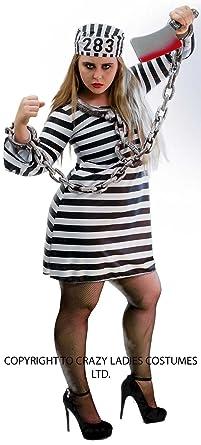 91d941ce6d0 Halloween-Creepy-Scary-Convict-Sexy- LADIES SEXY PRISONER DRESS, HAT