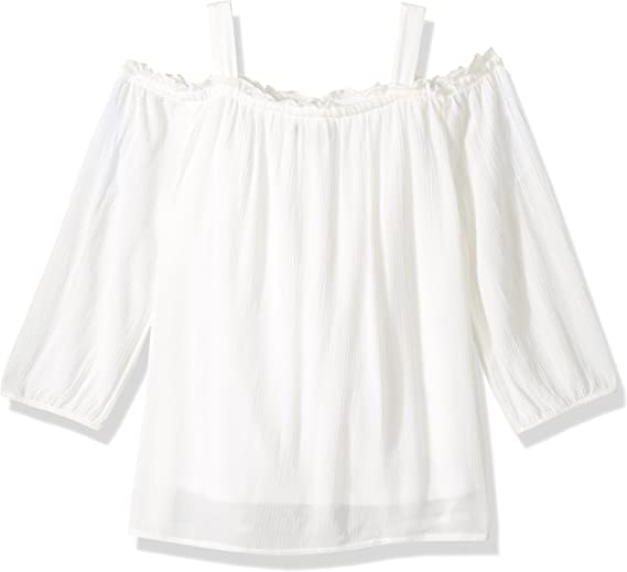 My Michelle Girls Big Long Sleeve Cold Shoulder Top with Embroidery
