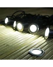 Lot de 6 Mini Spots Encastrables Solaires Ultra-Plats en Acier Inoxydable - Éclairage Blanc à LED avec Panneau Solaire - Idéal Décoration Terrasse en Bois