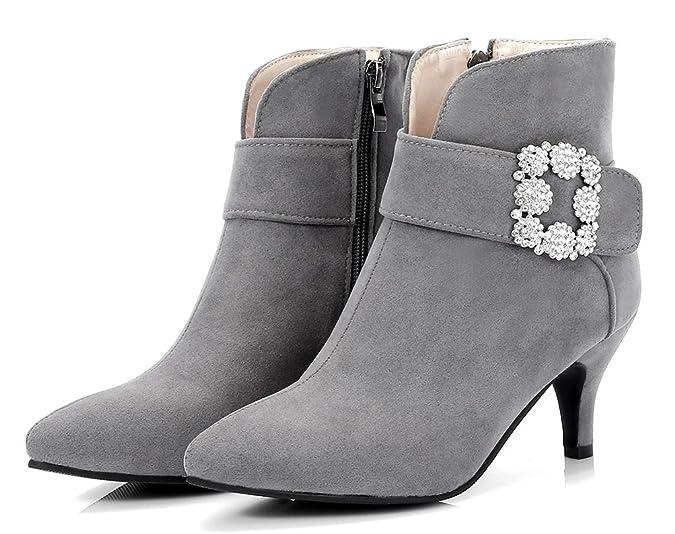 Easemax Damen Elegant Pointed Toe Strass Riemen Ankle Boots Pumps Grau 35 EU BNS4ZUIg