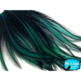 Rooster Feathers, Peacock Green Laced Long Rooster Cape Feathers - 10 Pieces