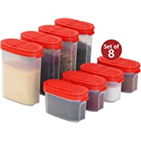 Clear Plastic Empty Spice Container Spice Jars with Lid – Kitchen Bottle Dispenser Store Spice,Herb,Rub,Sugar,Salt,Pepper 2 Way Lids Sift/Pour Shaker–Refillable Airtight Jar Red Cap 8 pk.4 mini 4 big