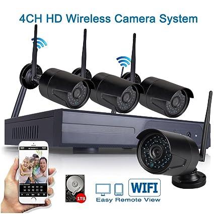 Icami - Juego de 4 cámaras 1.0 MP CCTV IP inalámbricas, 720P, CH WiFi, para exteriores, impermeables, sistemas de seguridad ...