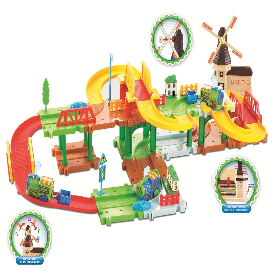 Webby Mega Windmill 24 Train Set with Music and Lights, Multi Color