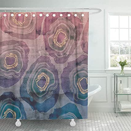 72quotx72quot Shower Curtain Waterproof Sliced Geode With Rose Gold Details Overlaid On Hand