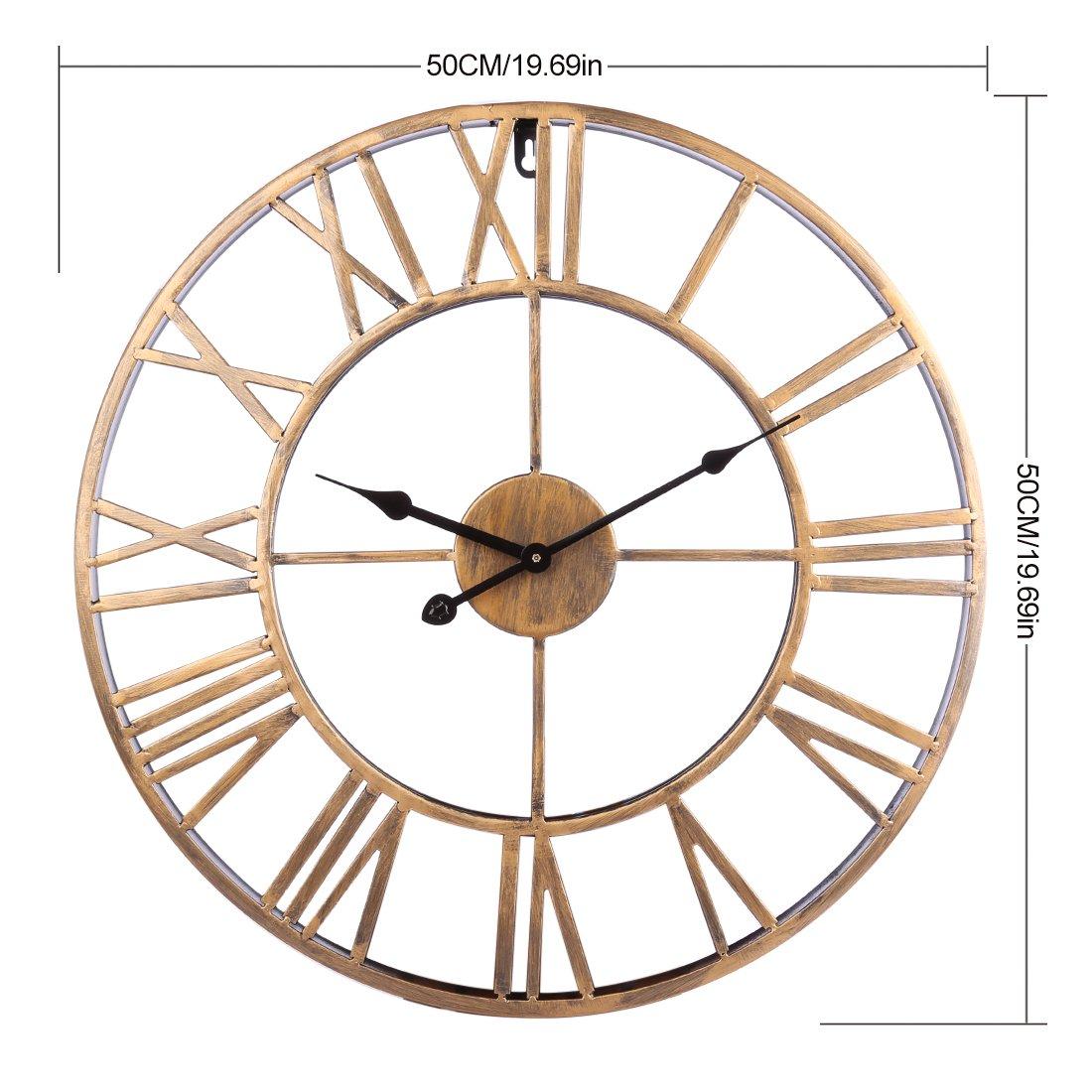 Ovitop Reloj de Pared 50cm Reloj de Pared Grande Reloj de Pared Silencioso Reloj de Pared Decorativo para Cocinas, Dormitorios, Oficinas, etc.