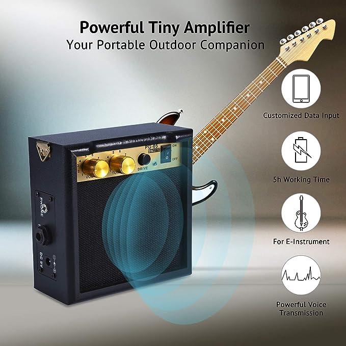 Asmuse Mini Amplificador guitarra 5W Combo Bajo Eléctrico Instrumentos Amp con efecto de overdrive y Batería Recargable 9V: Amazon.es: Instrumentos ...