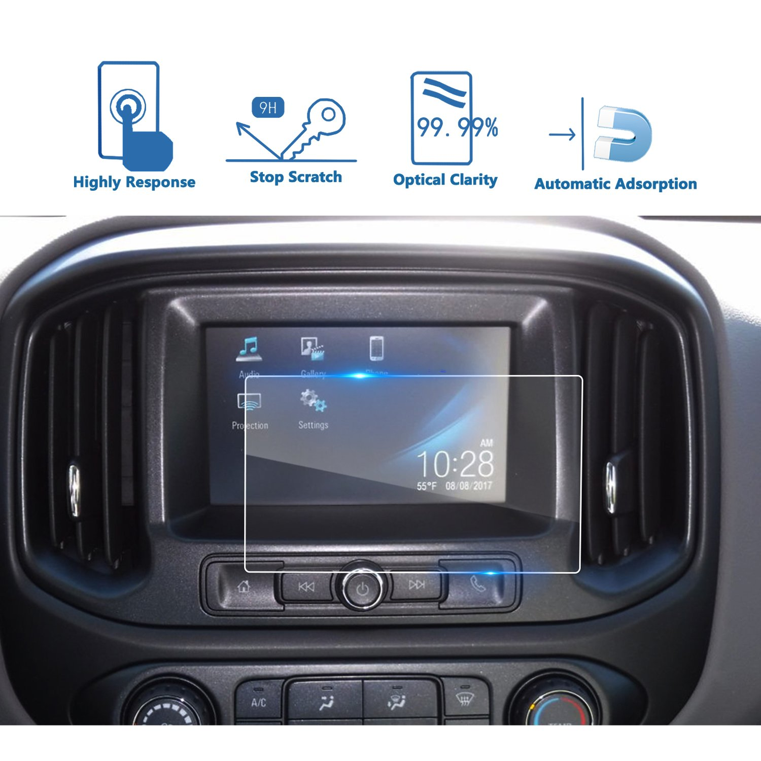 LFOTPP 2015-2018 Chevrolet Colorado 7 Inch Car Navigation Screen Protector, [9H] Tempered Infotainment Glass Center Touch Screen Protector Anti Scratch High Clarity