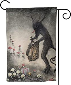 Only Pineapple Krampus Christmas Folklore Horrible Skull Gift Seasonal Family Welcome Double Sided Garden Flag Outdoor Funny Decorative Flags for Garden Yard Lawn Decor Party Gift Many Sizes