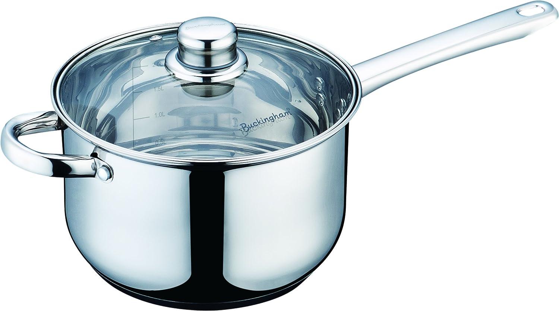 Buckingham Stainless Steel Induction deep Saucepan with Glass Lid, Cooking Pot, 20 cm B & I International 70612