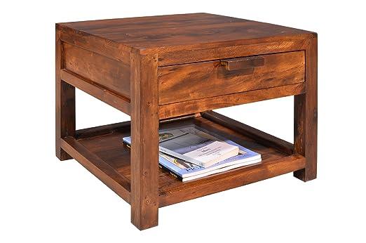 Mesa auxiliar, mesa de centro, Colonial, con 1 cajón y 1 estante ...