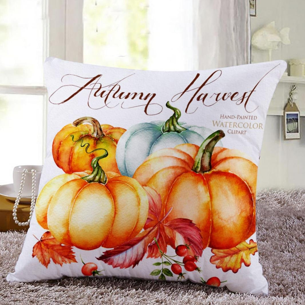 SMILEQ Decorative Pillowcases Thanksgiving Square Cover Decor Pillow Case Car Sofa Waist Throw Cushion Cover (A)