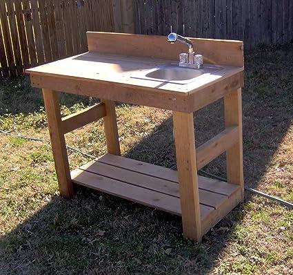 Amazon.com: THREE MAN Cedar Deluxe Gardening Potting Bench ...