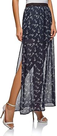 oodji Ultra Mujer Falda Larga de Tejido Fluido: Amazon.es: Ropa y ...