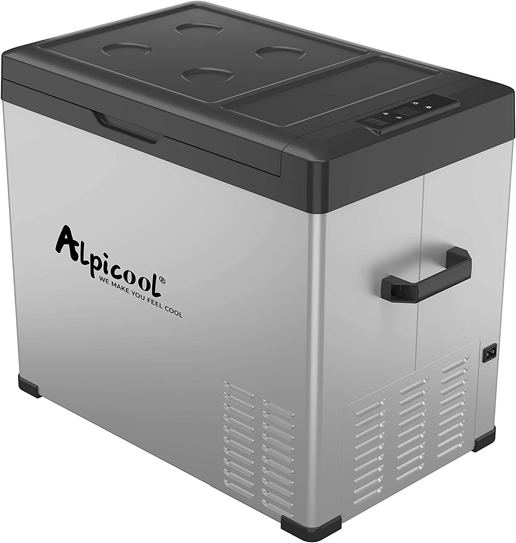 Alpicool C50 Portable Refrigerator 53 Quart(50 Liter) Vehicle, Car, Turck, RV, Boat, Mini Fridge Freezer for Travel, Outdoor and Home use -12/24V DC and 110-240 AC(Black and Silver)