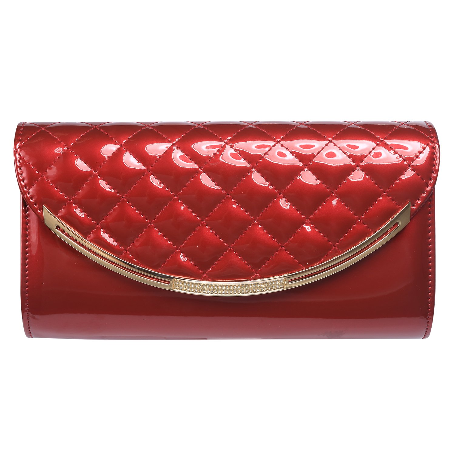 Womens Faux Patent Leather Clutch Handbag Evening Bag Shoulder Bag For Wedding and Party,Wine Red