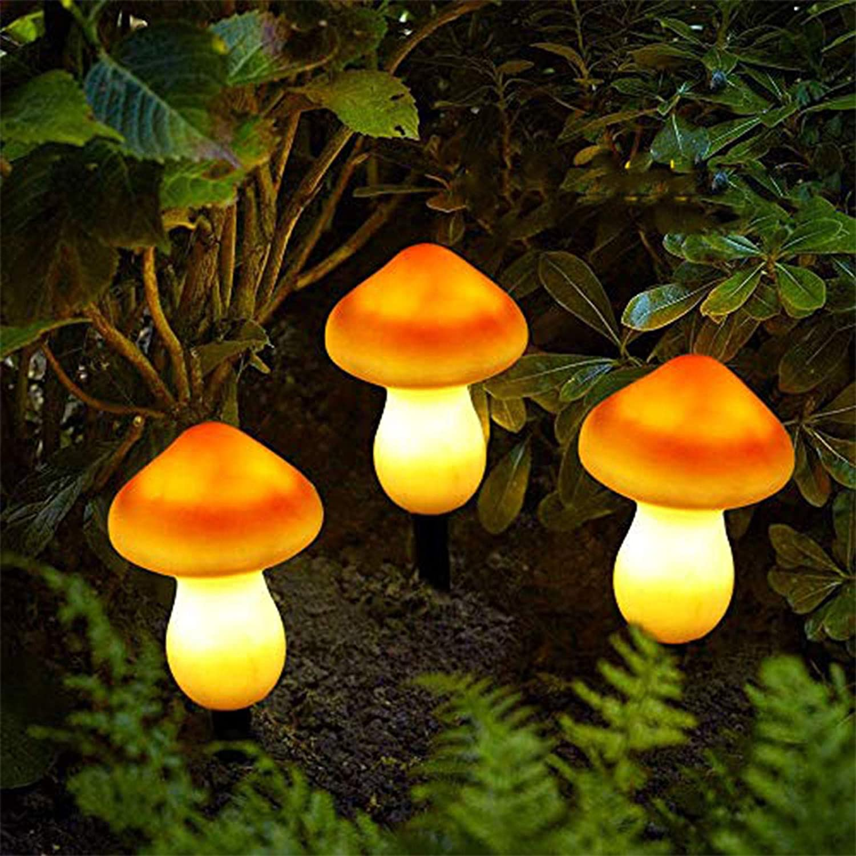 ALLOMN Solar Lights Garden Outdoor, Outdoor Garden Pathway Decorative Lamp Lights Solar Landscape Lights Waterproof Cute Mushroom Shape, Two Light Modes, Set of 3 Lamps