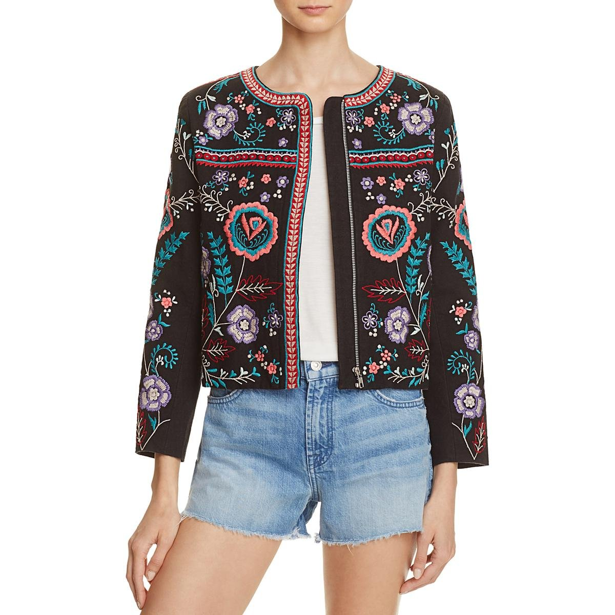 Parker Womens Halston Floral Embroidered Jacket Black M