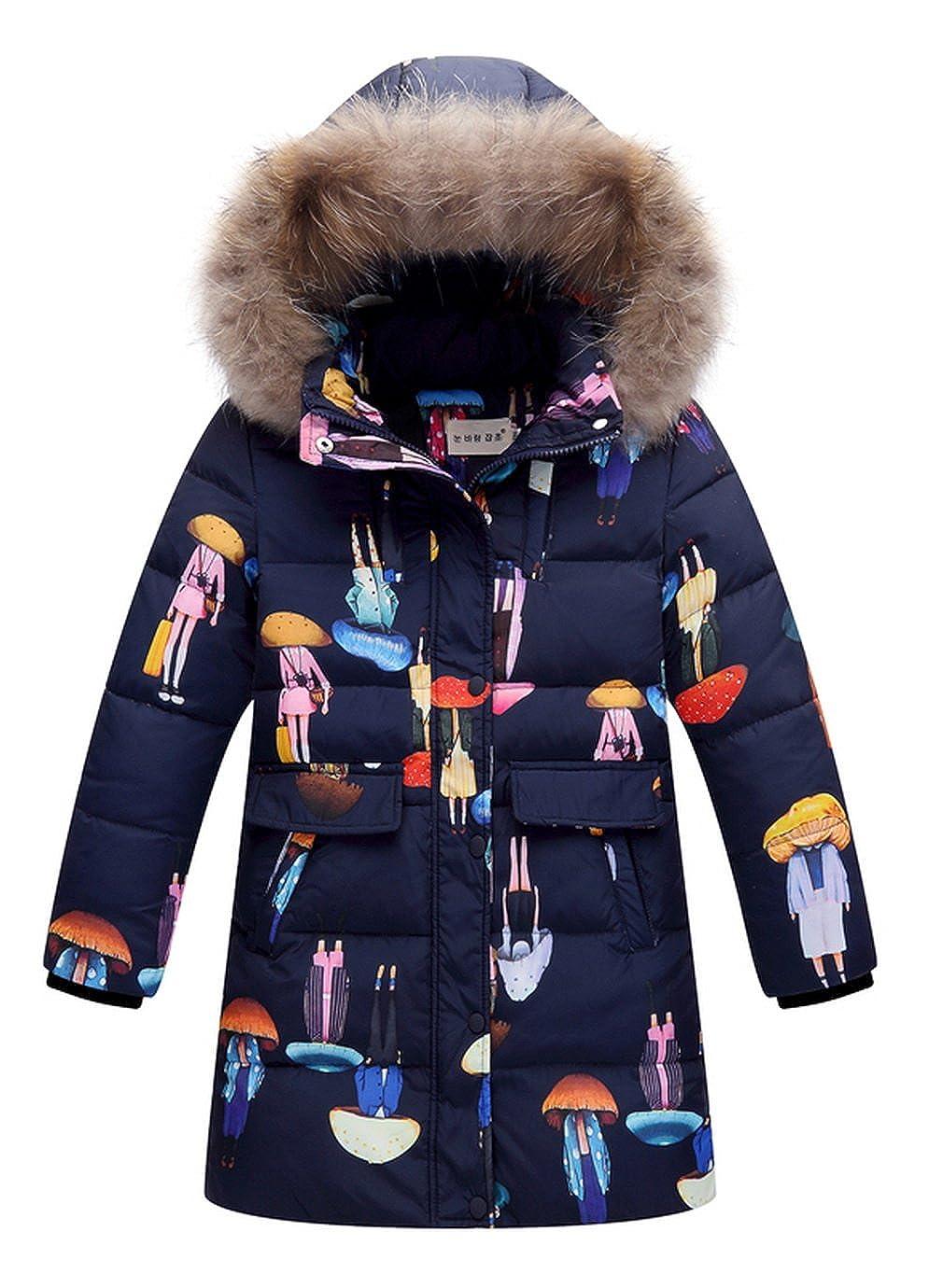 La Vogue Girls Mid-Long Winter Hooded Down Coat Puffer Jacket Overcoat