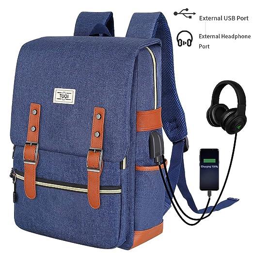 TUQI Mochila para Laptop Computadora Portátil para Empresas Mochila de Viaje Casual Business College Mochila para Hombres Mujeres Trabajo Macbook