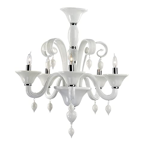 Treviso 5 light opaque white murano glass style chandelier treviso 5 light opaque white murano glass style chandelier aloadofball Choice Image