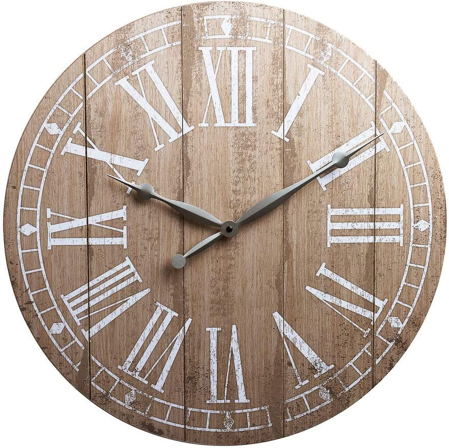 20 Rustic Light Natural Wood Plank Frameless Farmhouse Wall Clock Home Kitchen